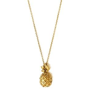 J. Crew Crystal Gold Pineapple Charm Necklace 30""